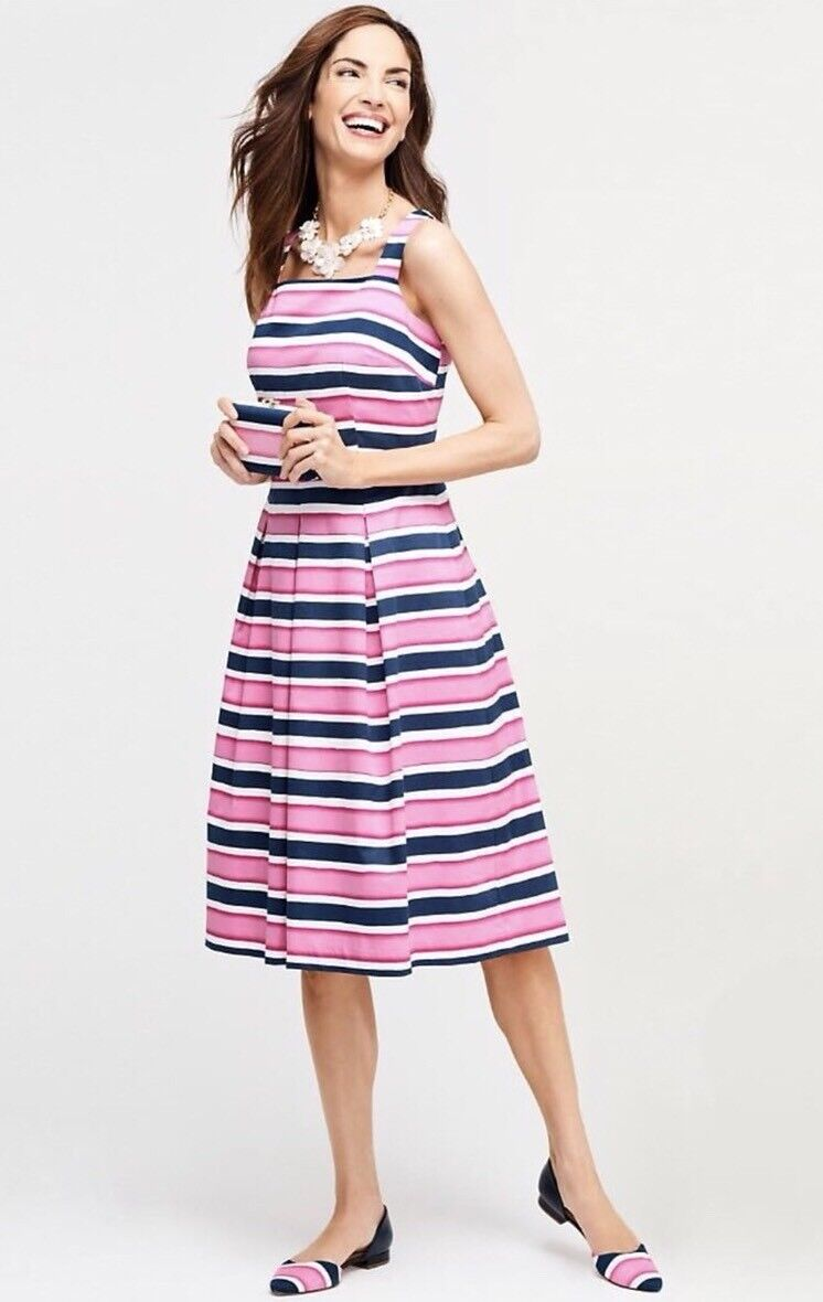 NWT TALBOTS LADYS COTTON MULTICOLOR STRIPE FIT AND FLARE DRESS SIZE 14P