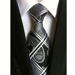 Men-039-s-Dark-Black-Grid-Tie-100-Silk-Jacquard-Woven-Formal-Meeting-Necktie