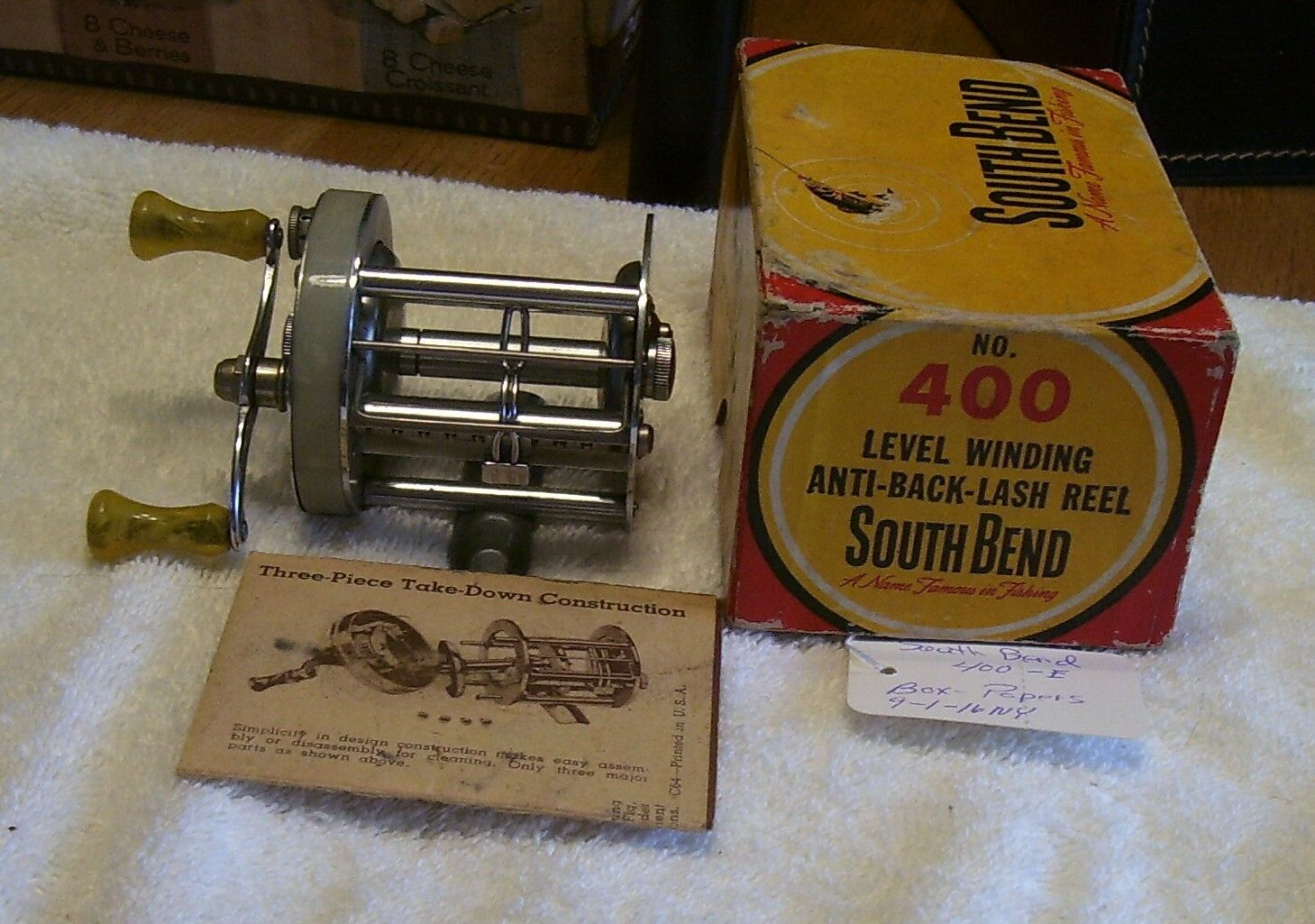 SOUTH BEND 400 E REEL 08 31 16NY   BOX PAPERS  EXCELLENT