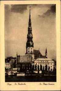 1940-RIGA-Lettland-Vidzeme-Postcard-Postkarte-St-Petri-Kirche-Church-ungelauf