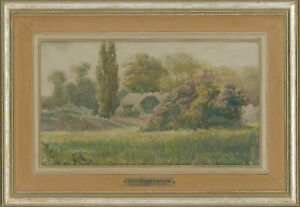 John-Frank-Swingler-Early-20th-Century-Watercolour-English-Thatched-Cottage
