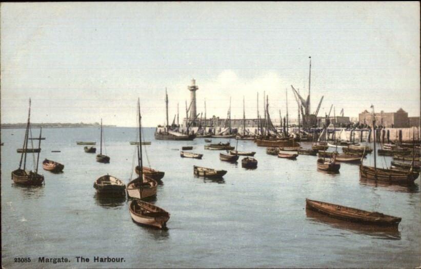 Margate UK Harbour & Lighthouse c1910 Postcard