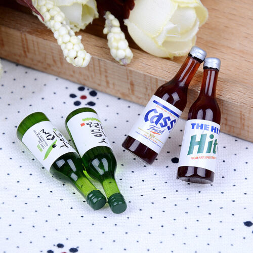 4Pcs 1:12 Mini Botellas De Vino Miniatura De Casa De Muñecas Beber Muñeca Casa Decoración *