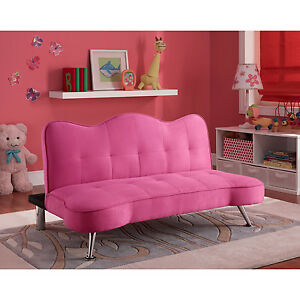 Modern Pink Sofa Couch Lounger Futon Girls Bedroom