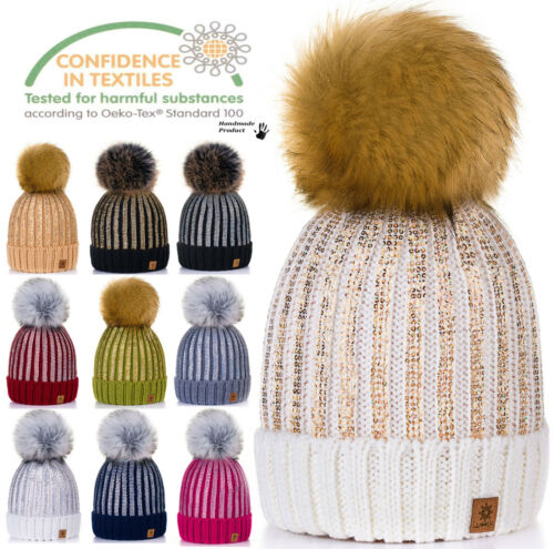 Kids Children Winter Beanie Hat Warm Knitted With Faux Large Pom Pon Rita