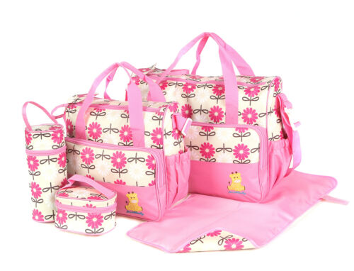 Laminated Waterproof Insulated Thermal 5pcs Baby Nappy Changing Hospital Bags
