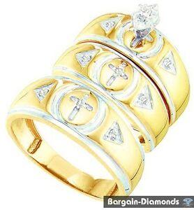Christian Cross Diamond 16 Carat 10K Gold 3 Ring Wedding Band Set Bridal Groom