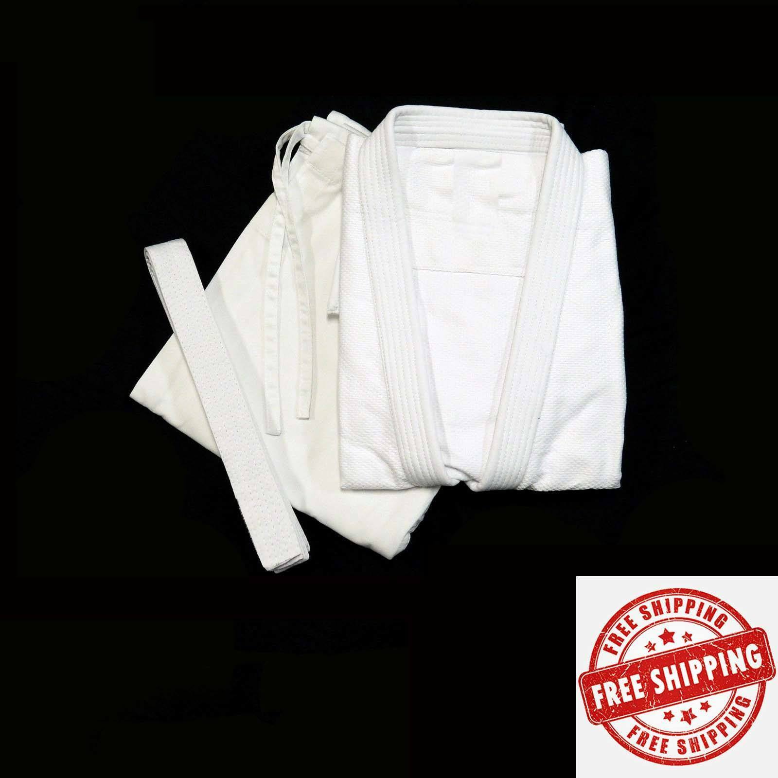 White Super  Judo GI Training Complete Uniform  with free belt 000-6 size  up to 42% off