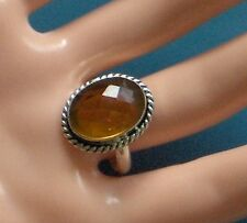 RICH HONEY TOPAZ SIZE 9 925 SILVER PLATED MULTI FACETED RING
