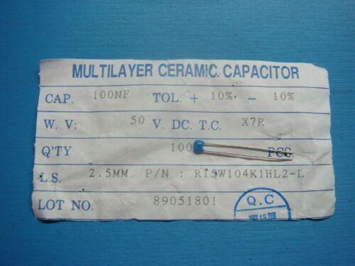 R15W104K1HL2-L 50V 100NF 100 0.1uf 10/% X7R 2.5mm RADIAL CERAMIC CAPACITOR