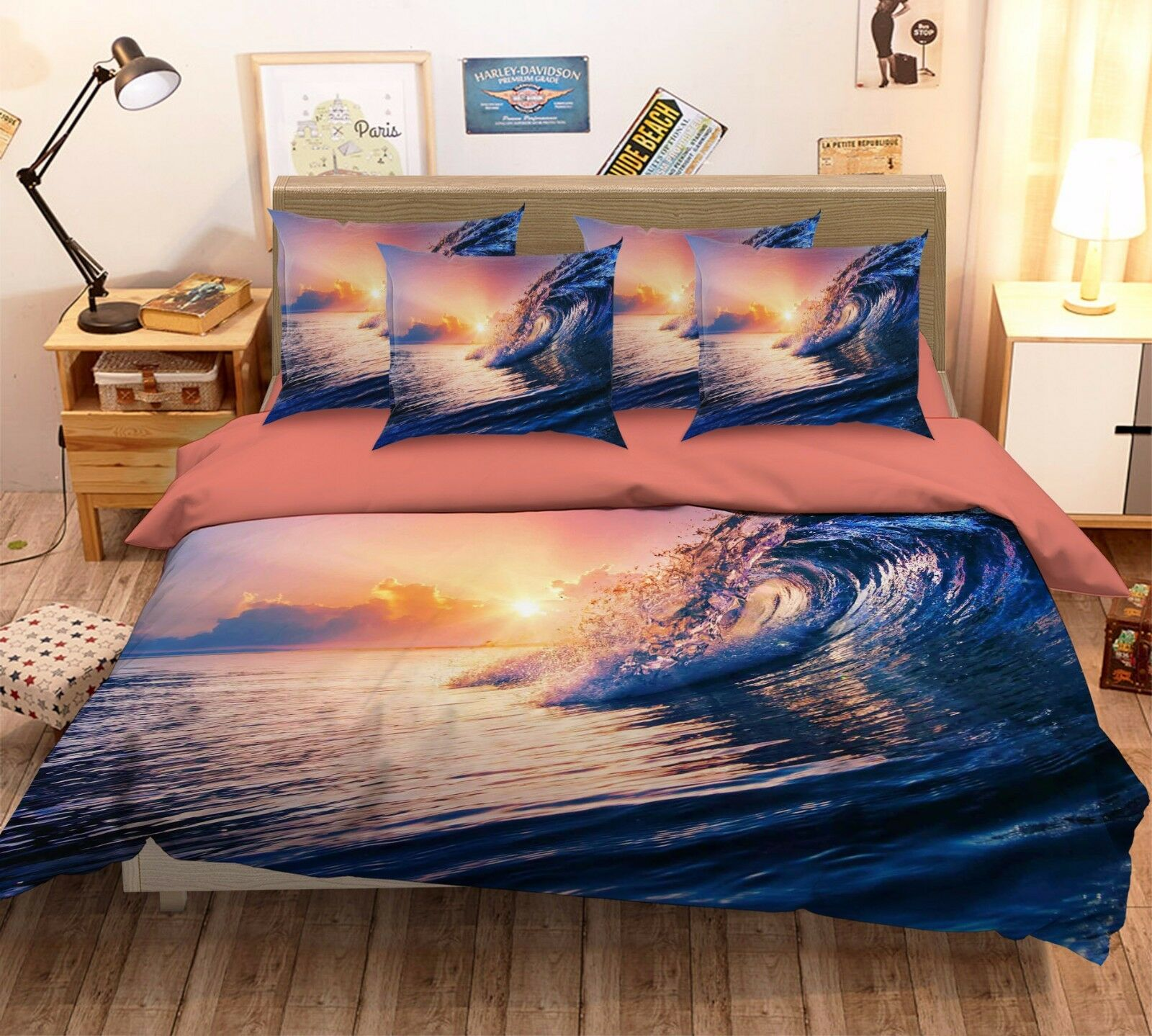 3D Sunset Sea Waves 521 Bed Pillowcases Quilt Duvet Cover Set Single Queen CA