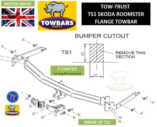 Flange Towbar for Skoda Roomster 2006 on including Scout Tow-Trust TS1