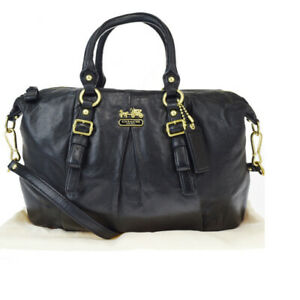 Auth-Coach-21222-2WAY-Leather-Handbag-Black-33GA608