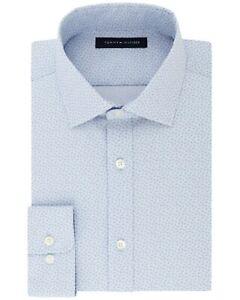 Tommy-Hilfiger-Mens-Athletic-Fit-Stretch-Print-Dress-Shirt-14-5-32-33-Light-Blue