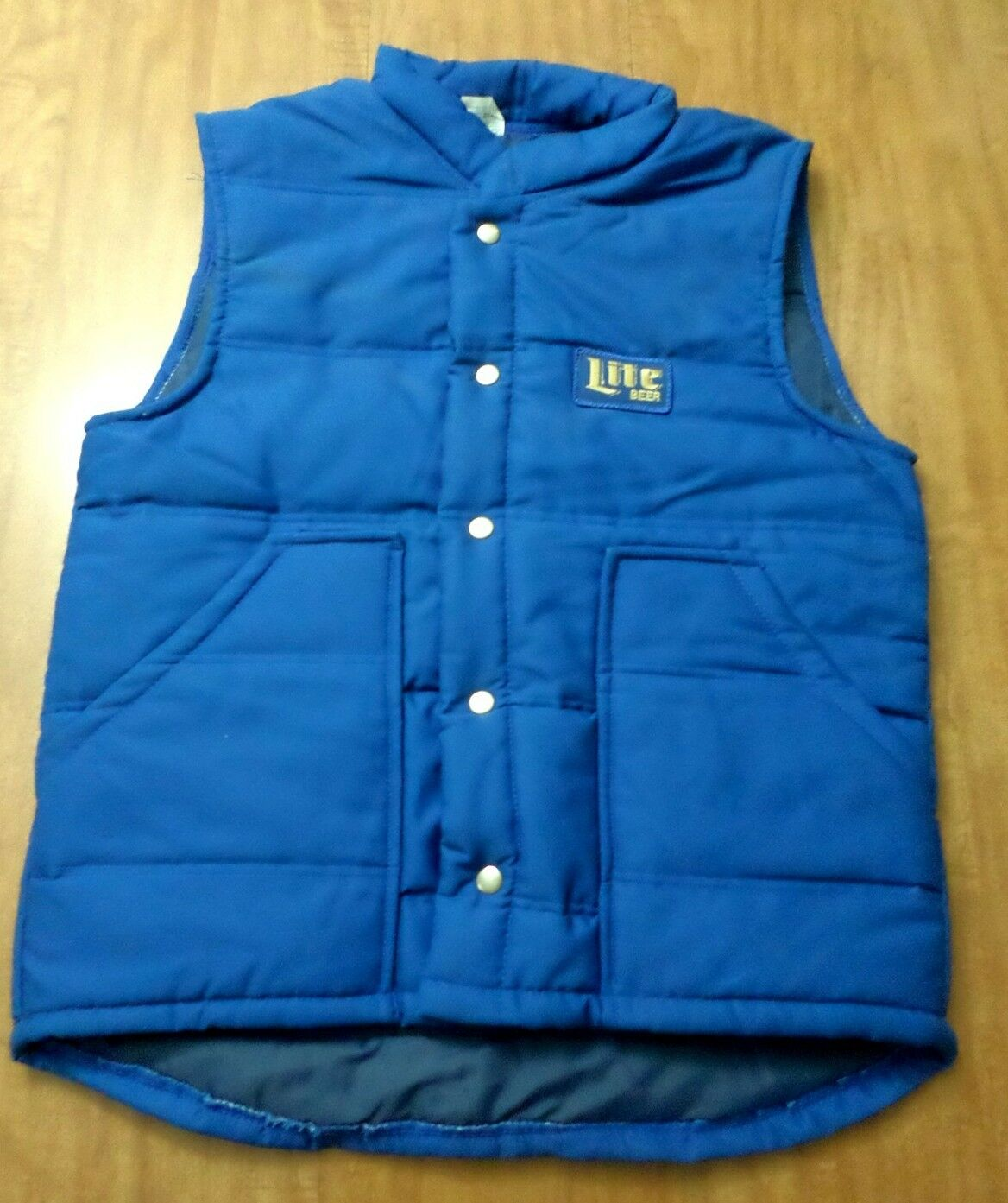 LITE BEER nylon med snap-front vest w/ lining embroidery Miller Brewing patch