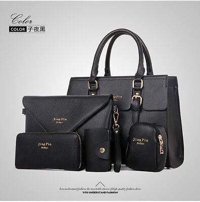 5 Sets Women Leather Satchel Handbag Tote Purse Wallet Shoulder Messenger Bag