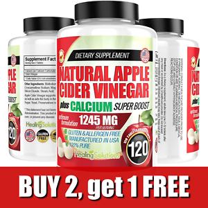 Apple Cider Vinegar Tablets ACV 1245mg Weight Loss, Detox, Keto Diet 120 Pills