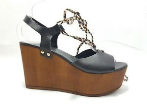 9637c88f232 Image is loading Sole-Diva-Black-Wooden-Flatform-Wedge-Sandals-UK-