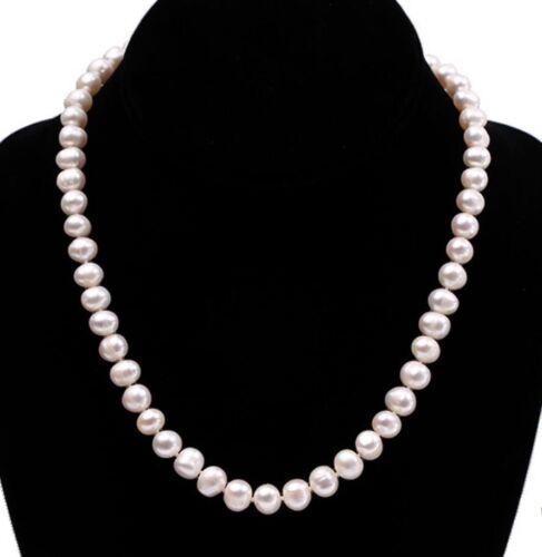 """Nouveau Blanc Naturel 8-9 MM Véritable Culture D/'eau Douce Collier De Perles 18/"""""""