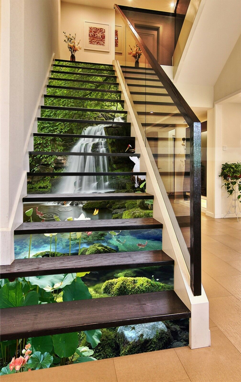 3D Water creek 37 Stair Risers Decoration Photo Mural Vinyl Decal Wallpaper UK