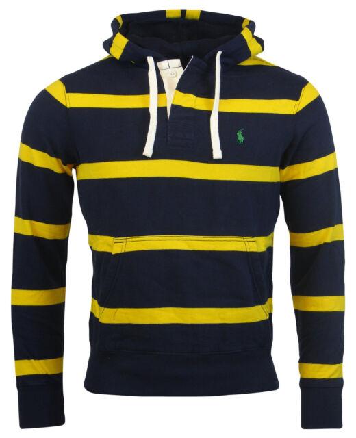 b62aa40af413 Polo Ralph Lauren Mens Striped Pony Pullover Hoodie Sweatshirt Blue ...