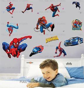 Large SpiderMan Wall Stickers Kids Nursery Boys Bedroom Decor - Spiderman wall decals uk