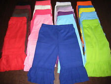 Ruffle Trimmed Capri Pants Relaxed Fit MANY COLORS Cotton Blend Fits Girls 2T-16