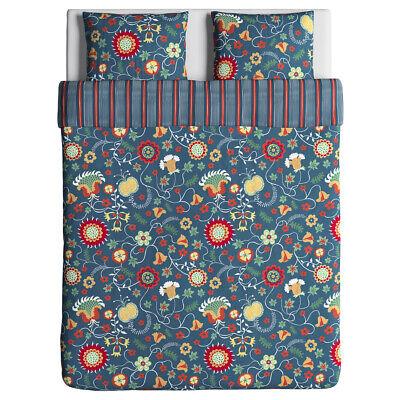 Symbol Der Marke Ikea Rosenrips Bettwäscheset Blau Gemustert 3-teilig Blumen 100% Baumwolle