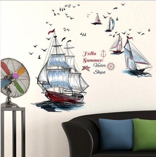 Wall Sticker Decal Sail Ship Boat Kids Nursery Baby Children/'s room dec Kid Boy
