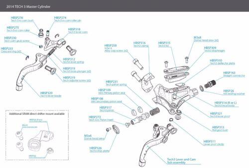 Brand New Hope Brake Master Cylinder Spare Tech 3 Lever Pivot Circlip HBSP311