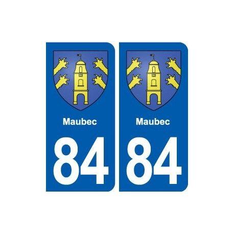 84 Maubec  blason autocollant plaque stickers ville -  Angles : arrondis