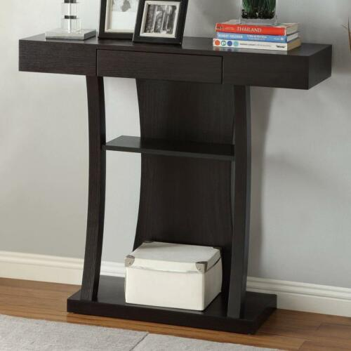 T-Shaped Cappuccino Console Table with 2 Shelves and Drawer by Coaster 950048