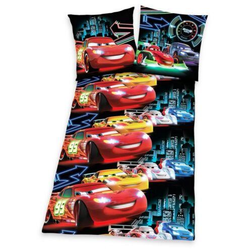 Bettwäsche Cars Neon Allover Autos Kinder Lightning McQueen 135x200 Renforcé NEU