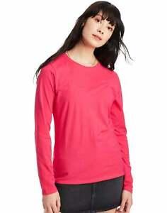 Hanes Women's Long Sleeve Crewneck T-Shirt 100% Cotton Tee Tagfree Size S to 2XL
