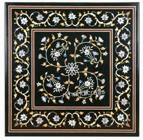 21 Inches Black Marble Coffee Table Top Inlay Center table with Marquetry Art