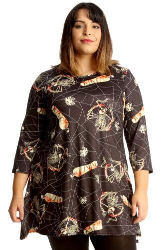 New Womens Plus Size Swing Top Ladies Halloween Mummy Spider Web Print Tunic