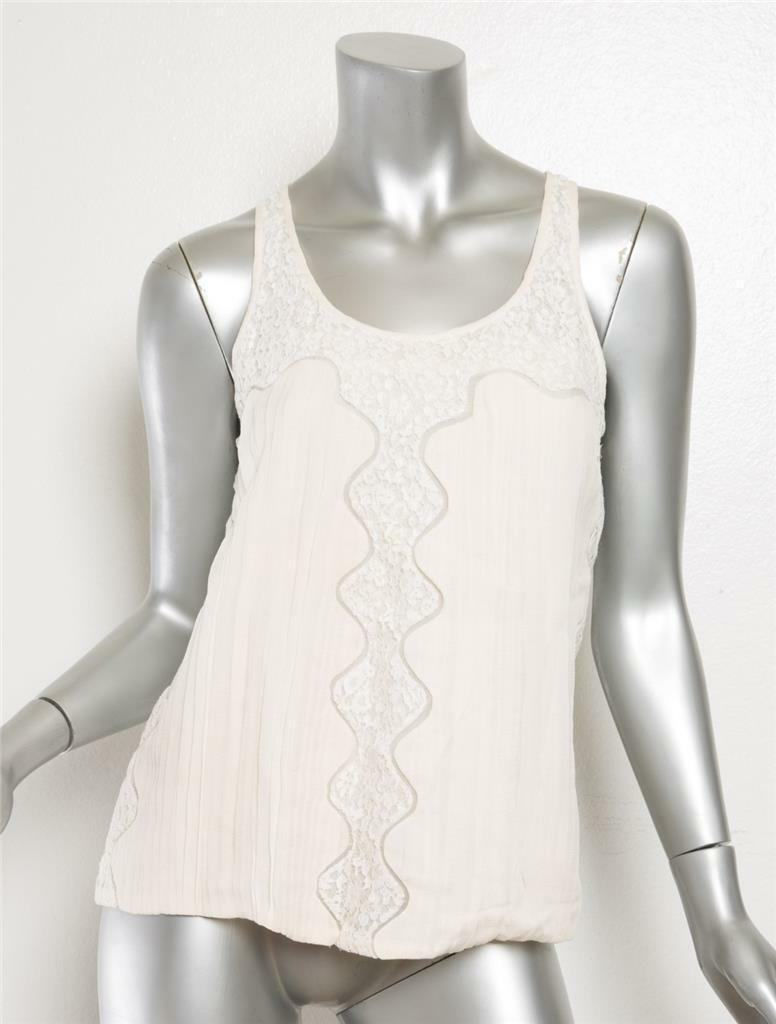 CHLOE Womens Ivory Pleated Floral Lace Sleeveless… - image 2