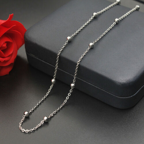 """20/"""" Station perle boule chaîne collier Wholesale 1.3 mm 16/"""" Acier Inoxydable"""