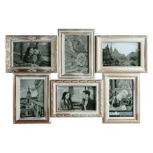 Vintage-Bilderrahmen-weiss-gold-Antik-6-Fotos-10x15cm-Fotogalerie-Fotocollage-NEU