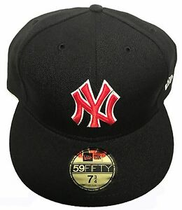 bd7629d9c Details about NEW YORK YANKEES NY MLB BLACK RED NEWERA FITTED 59FIFY HAT  CAP NEW ERA