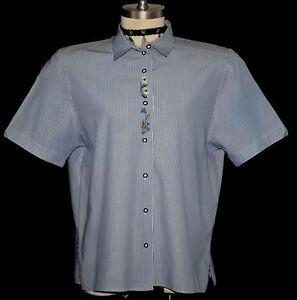 BLUE-STRIPED-Shirt-BLOUSE-Top-German-Dirndl-Dress-Suit-Western-Skirt-B45-034-18-XL