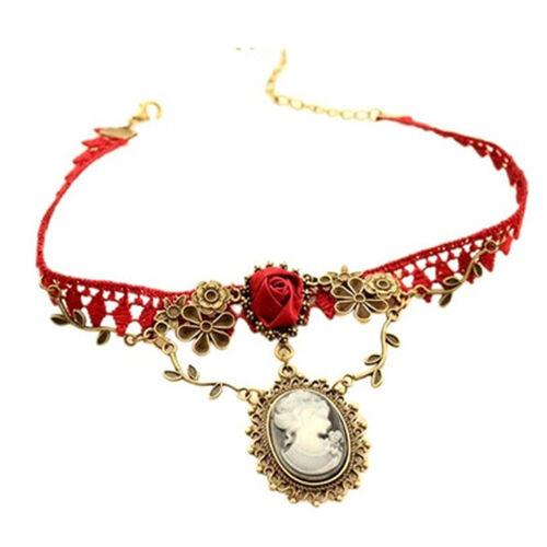 New Fashion New Stylish Cameo Red Rose Lace Fashion Necklace Jewelry Women C0I4