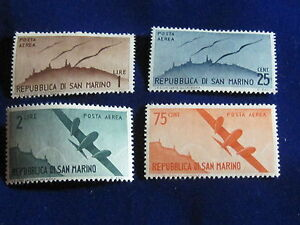 San Marino, Planes and Skyline Airmails, 1946-47, MH.