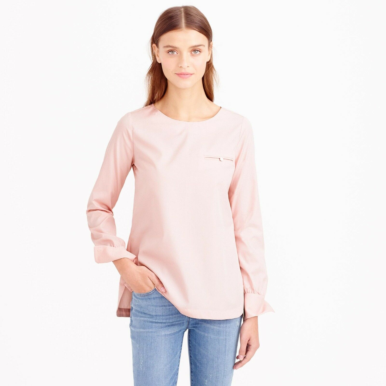 J Crew Poplin Pastel Rosa Rosa Pocket Cotton Blouse Top 8 M