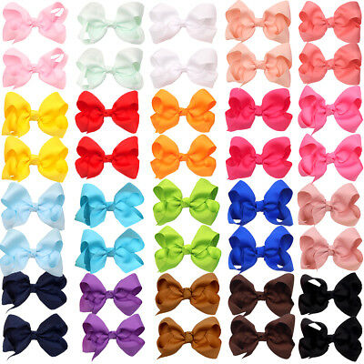 "40pc Boutique Pinwheel 3"" Hair Bows Alligator Clips For Babies Toddlers In Pairs Girls' Accessories Hair Accessories"