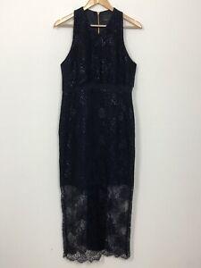 GINGER-SMART-Womens-Navy-Blue-Metallic-Purple-Sleeveless-Cocktail-Dress-Size-12