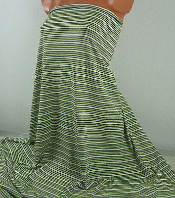 1 m Single Jersey grau meliert mit Ringeln, 5,99 €/m, gelb grün, 100 % Baumwolle
