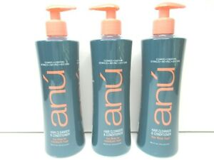 3-ANU-Shampoo-Hair-Cleanser-Conditioner-FINE-HAIR-16-Oz-Detangle-Anti-Frizz-NEW