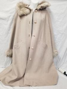 doublé en pour Makoff femme d'hiver laine fourrure en Manteau tpFS4qwf