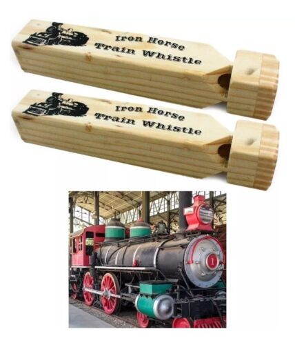 """Two 2 New In Packages /""""Iron Horse/"""" Classic Wooden Train Whistles 7/"""" Long NIP"""